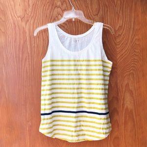 ⚡️2 for $15⚡️ Loft tank, white w chartreuse stripe